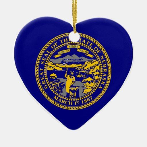 Nebraska Flag Heart Double-Sided Heart Ceramic Christmas Ornament