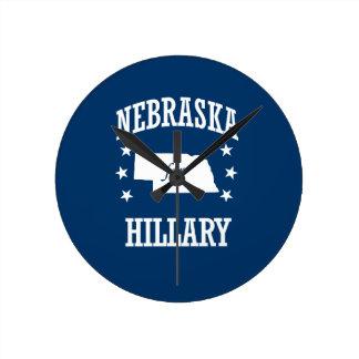 NEBRASKA FOR HILLARY ROUND WALL CLOCK