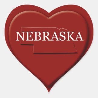 Nebraska Heart Map Design Sticker