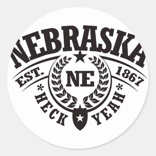 Nebraska, Heck Yeah, Est. 1867 Classic Round Sticker