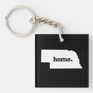NEBRASKA HOME STATE -.png Single-Sided Square Acrylic Keychain