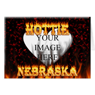 Nebraska Hottie fire and red marble heart. Card