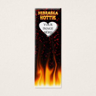 Nebraska Hottie fire and red marble heart. Mini Business Card