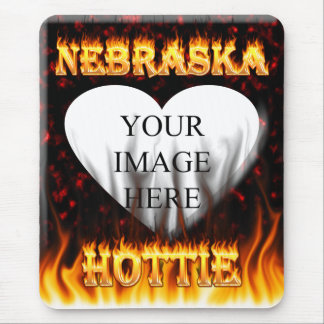 Nebraska Hottie fire and red marble heart. Mouse Pad