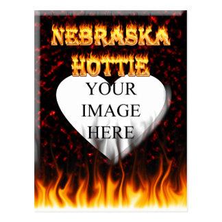 Nebraska Hottie fire and red marble heart. Postcard
