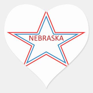 Nebraska in a star. heart sticker