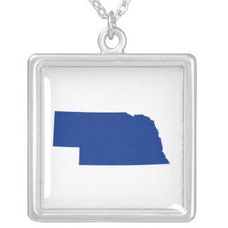Nebraska in Blue Square Pendant Necklace