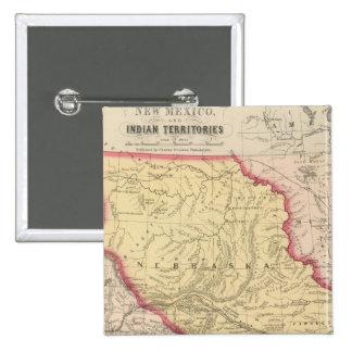 Nebraska, Kansas, New México Pin Cuadrada 5 Cm