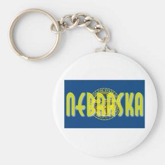 Nebraska Basic Round Button Keychain