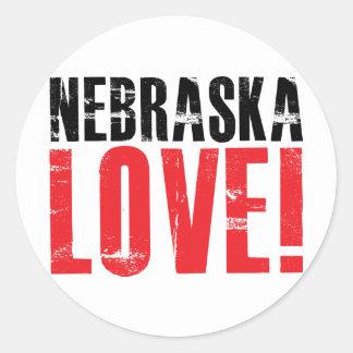 Nebraska Love Classic Round Sticker