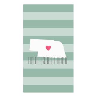 Nebraska Map Home State Love with Custom Heart Business Card