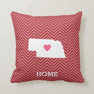 Nebraska Map Home State Love with Optional Heart Pillows