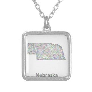 Nebraska map square pendant necklace