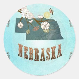 Nebraska Map With Lovely Birds Classic Round Sticker