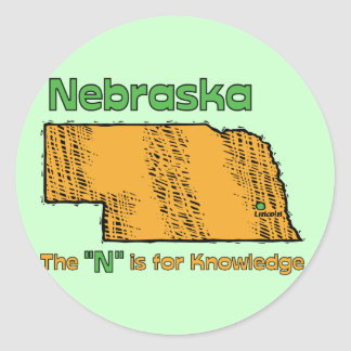 "Nebraska NB US Motto ~ The ""N"" is for Knowledge Classic Round Sticker"