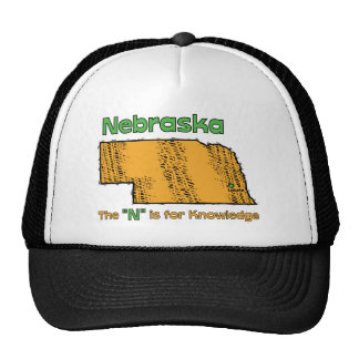 Nebraska NB US Motto The N is for Knowledge Hats