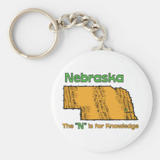 """Nebraska NB US Motto ~ The """"N"""" is for Knowledge Basic Round Button Keychain"""