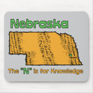 """Nebraska NB US Motto ~ The """"N"""" is for Knowledge Mouse Pad"""