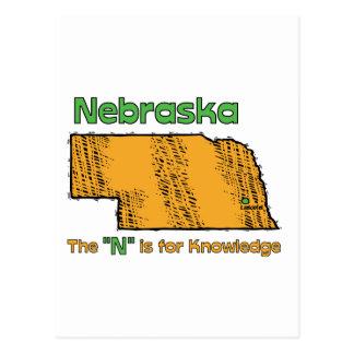 "Nebraska NB US Motto ~ The ""N"" is for Knowledge Postcard"