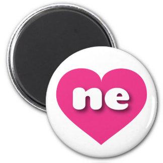 Nebraska ne hot pink heart 2 inch round magnet