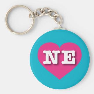 Nebraska NE hot pink heart Basic Round Button Keychain