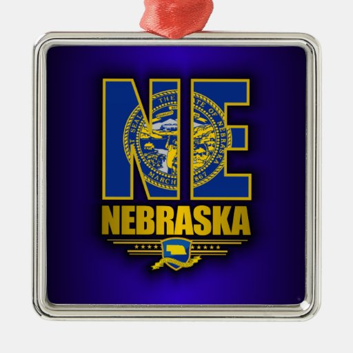 Nebraska (NE) Metal Ornament