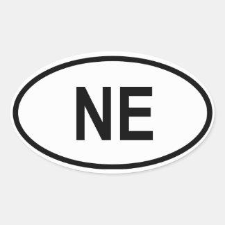 """Nebraska """"NE """" Pegatina Ovalada"""