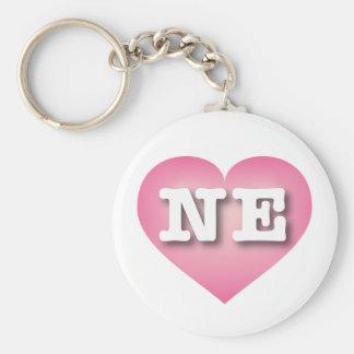Nebraska NE pink fade heart Basic Round Button Keychain