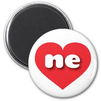 Nebraska ne red heart 2 inch round magnet