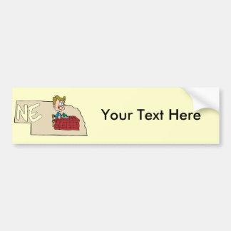Nebraska NE State Map with Cartoon Art Bumper Sticker