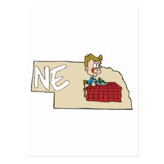 Nebraska NE State Map with Cartoon Art Post Cards