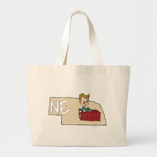 Nebraska NE State Map with Cartoon Art Tote Bag