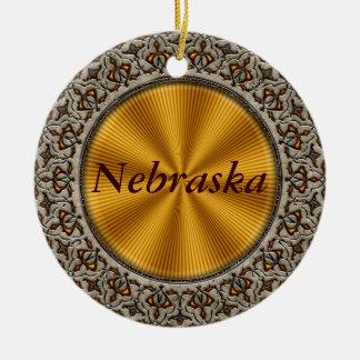 Nebraska Double-Sided Ceramic Round Christmas Ornament