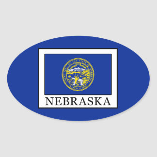 Nebraska Pegatina Ovalada