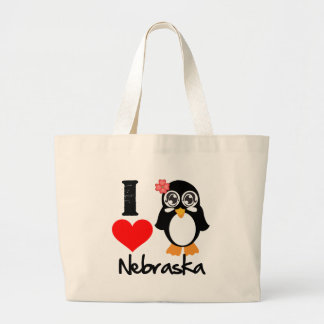 Nebraska Penguin - I Love Nebraska Canvas Bags