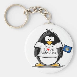 Nebraska penguin basic round button keychain