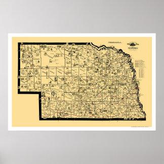 Nebraska Railroad Map 1897 Poster
