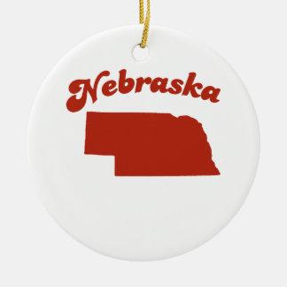 NEBRASKA Red State Double-Sided Ceramic Round Christmas Ornament