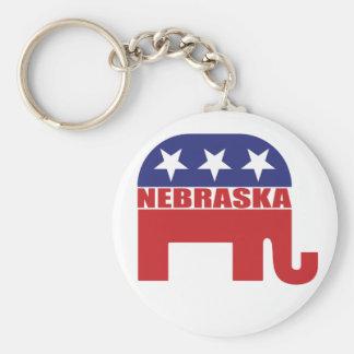 Nebraska Republican Elephant Basic Round Button Keychain