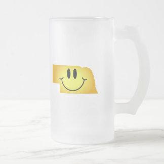 Nebraska Smiley Face Frosted Glass Beer Mug