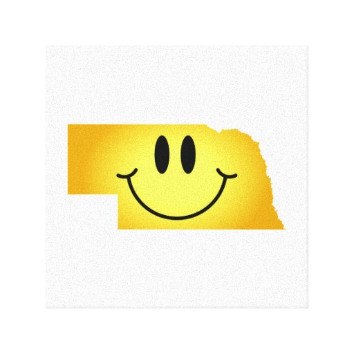 Nebraska Smiley Face Gallery Wrapped Canvas