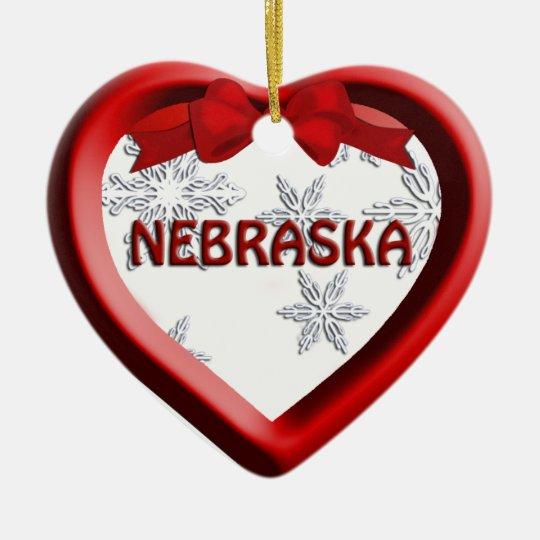 Nebraska Snowflake Heart Christmas Ornament