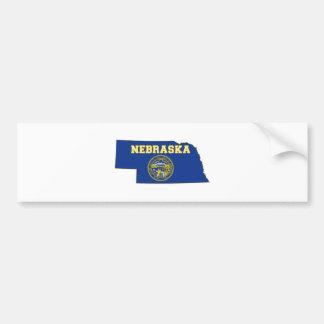 Nebraska State Flag and Map Bumper Sticker