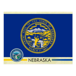 Nebraska State Flag and Seal Postcard