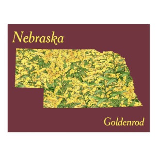 Nebraska State Flower Collage Map Postcard