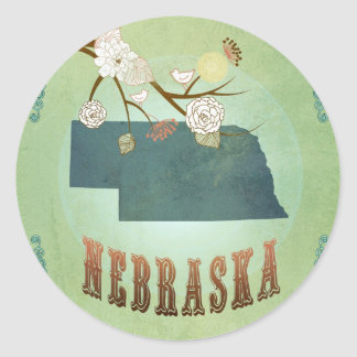 Nebraska State Map – Green Classic Round Sticker