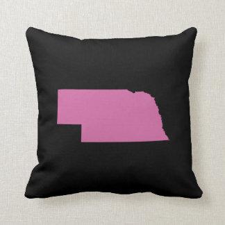 Nebraska State Outline Throw Pillow