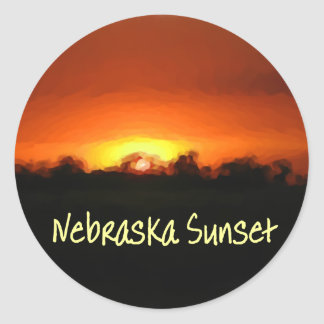Nebraska Sunset Classic Round Sticker