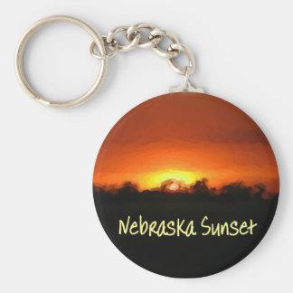 Nebraska Sunset Basic Round Button Keychain