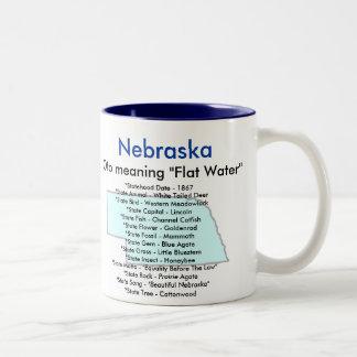 Nebraska Symbols & Map Two-Tone Coffee Mug